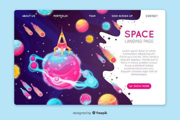 Realistische ruimte-bestemmingspagina-sjabloon