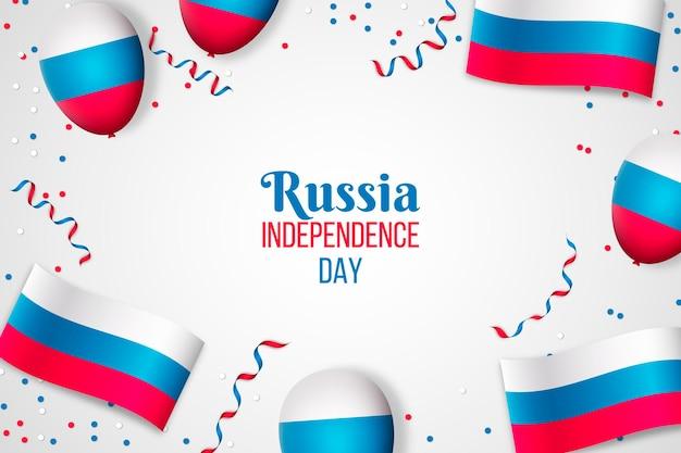 Realistische rusland dag confetti en ballonnen