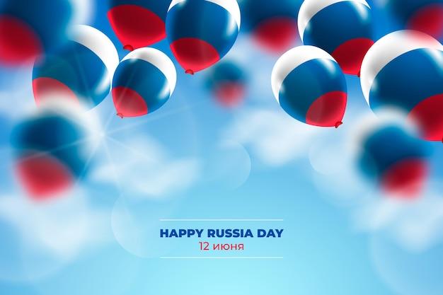 Realistische rusland-dagachtergrond met ballons Gratis Vector