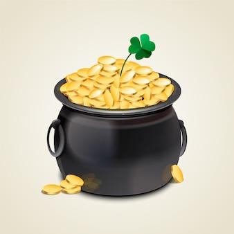 Realistische saint patrick's day pot met goud