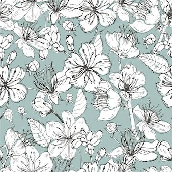 Realistische sakura hand getekende naadloze patroon met toppen, bloemen, bladeren. vintage stijl illustratie.