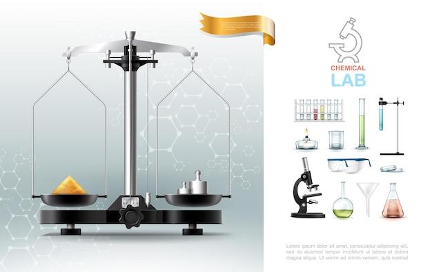 Realistische samenstelling van chemische laboratoriumelementen met laboratoriumapparatuur voor moleculaire structuur van weegschaal