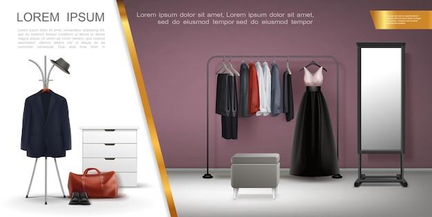 Realistische samenstelling van garderobekamerelementen met jasoverhemden, jurk, broek op hangers, leren schoenen, tas, spiegelkruk, nachtkastje