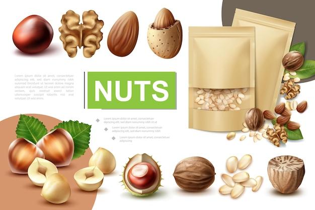 Realistische samenstelling van gezonde noten met walnoot, hazelnoot, macadamia, nootmuskaat, amandel, kastanje en pakjes pijnboompitten