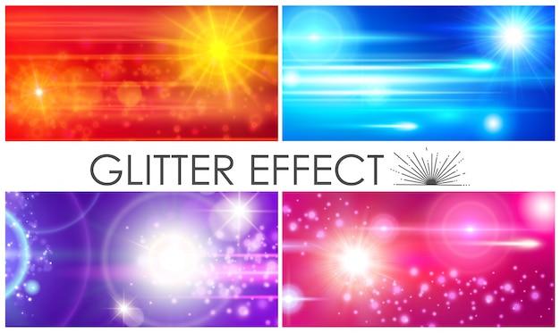 Realistische samenstelling van glitterlichteffecten met kleurrijke sprankelende lensfakkels en zonlichteffecten