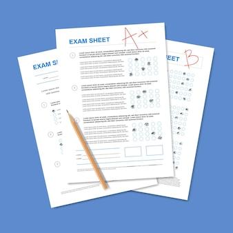 Realistische samenstelling van het testpapier met potlood en stapel papierwerk voor studenten met markeringen en juiste antwoorden