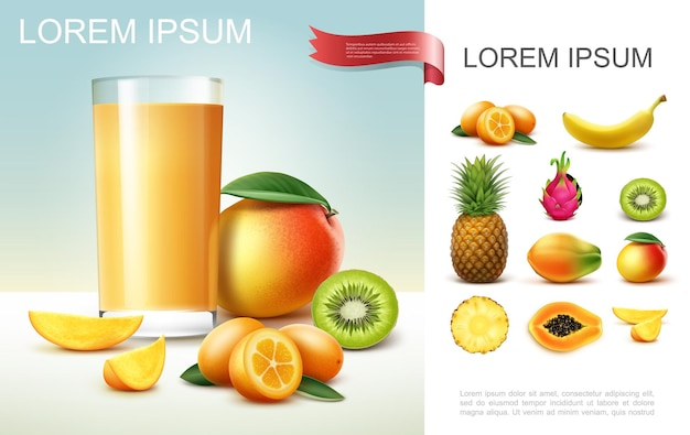 Realistische samenstelling van vers fruitsap met glas mangosap, kiwi, ananas, banaan, papaja, kumquat, drakenvruchten