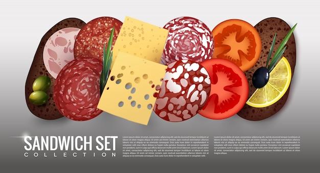 Realistische sandwich-ingrediënten set