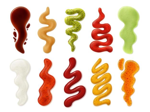 Realistische sauzen strips. tomatenketchup, mayonaise, mosterd, kaas en wasabi pikante saus vlekken, spatten en vlek 3d geïsoleerde vector set. illustratie mayonaisesaus en mosterd, pikante ketchup