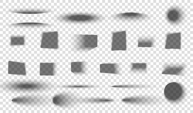 Realistische schaduw met zachte randen grijze ronde en ovale schaduwen