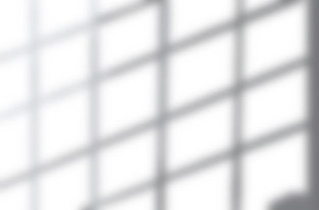 Realistische schaduw-overlay-effecten mockup bovenaanzicht compositie met rastervormige schaduw op de muur