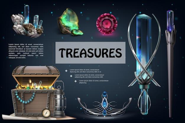 Realistische schatten kleurrijke compositie met juwelen, edelstenen, juwelen, kist met gouden munten, parel ketting, lantaarn, navigatie, kompas, diadeem, onbehandeld, aquamarijn, illustratie