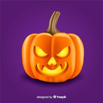 Realistische schattige boze halloween-pompoen