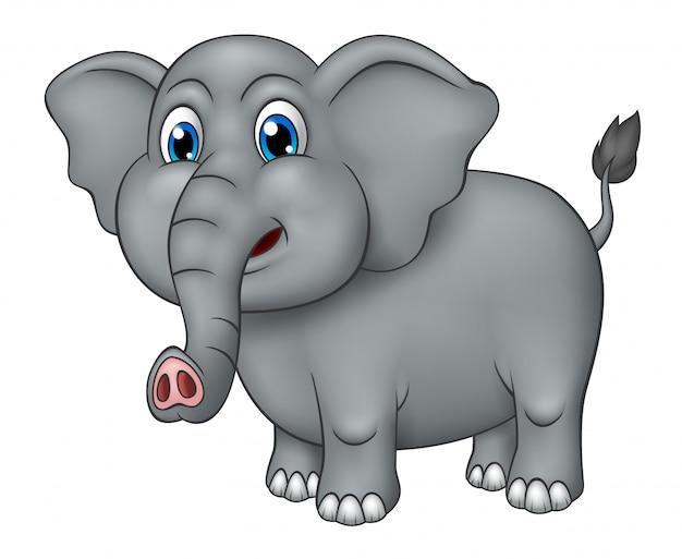 Realistische schattige olifant cartoon