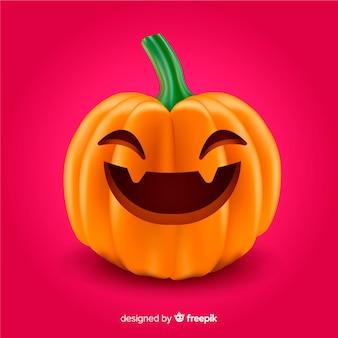 Realistische schattige smiley halloween pompoen
