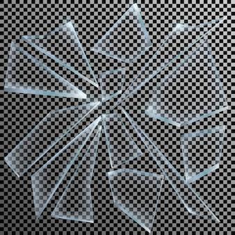 Realistische scherven van gebroken glas op transparante achtergrond scherp stuk.