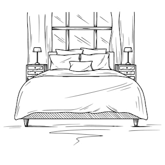 Realistische schets van de slaapkamer. hand getrokken schets van interieur. illustratie