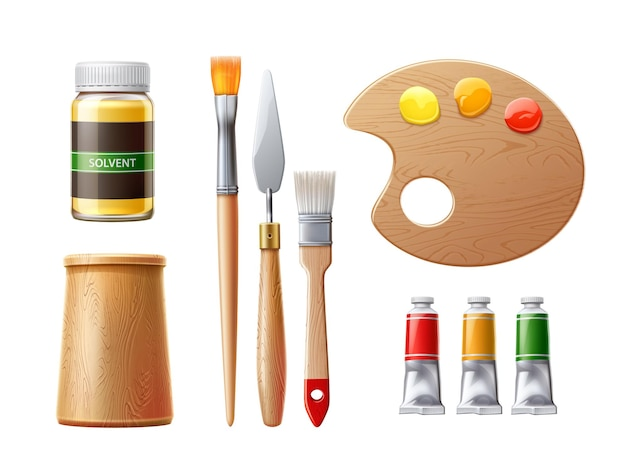 Realistische schildersgereedschappen olieverfbuizen, borstels, paletmes met kunstenaarstools voor oplosmiddelenfles