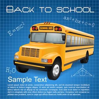 Realistische schoolbus op blauw geruite achtergrond met inscripties