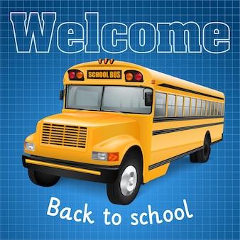 Realistische schoolbus op blauw geruite achtergrond