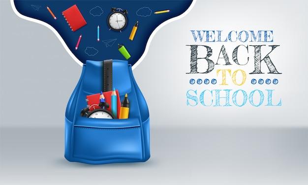 Realistische schooltas met briefpapier. terug naar school. rode studentenrugzak