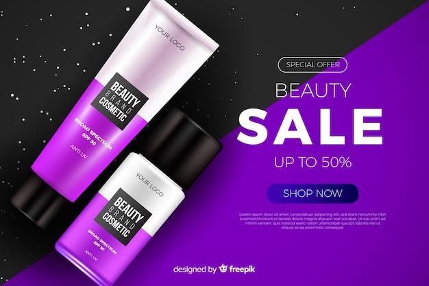 Realistische schoonheid verkoop advertentiesjabloon