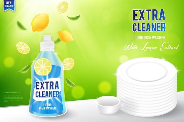 Realistische schoonmaakproducten ad