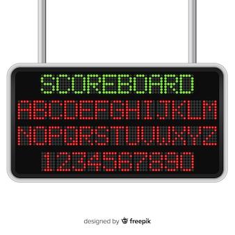 Realistische scorebord stijl alfabet