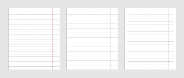 Realistische set blanco papier lijnbladen