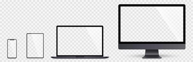 Realistische set computer, laptop, tablet en smartphone. schermverzameling apparaat. realistische ruimtegrijs mock-up computer, laptop, tablet, telefoon met schaduwvoorraad.