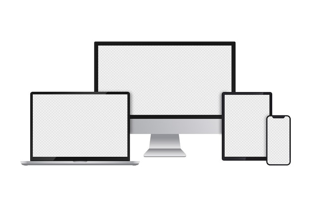 Realistische set computermonitor laptop tablet en smartphone met transparante schermen vector