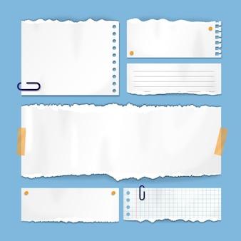 Realistische set gescheurd papier