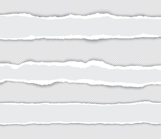 Realistische set gescheurde papierranden met schaduw op transparant