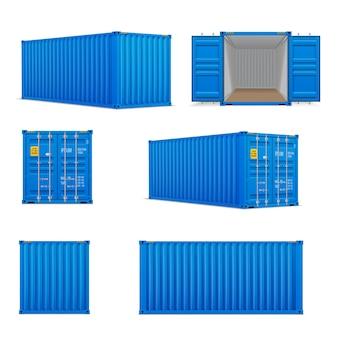 Realistische set helderblauwe vrachtcontainers