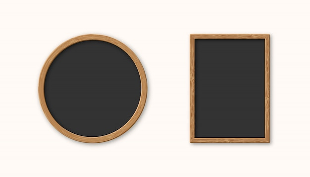 Realistische set houten afbeeldingsframe geïsoleerd