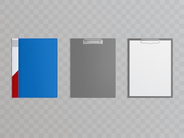 Realistische set klemborden met metalen klem voor het vasthouden van papieren, documenten.