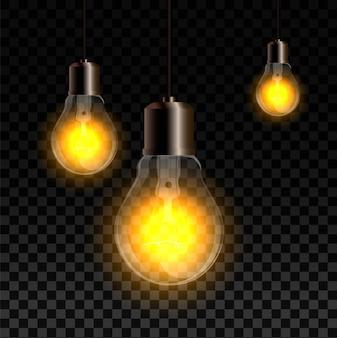 Realistische set met gloeilampen, gloeiende gele gloeilampen, geïsoleerd op transparant. elektrische lamp.