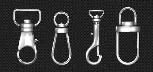 Realistische set metalen karabijnhaken karabijnsluitingen