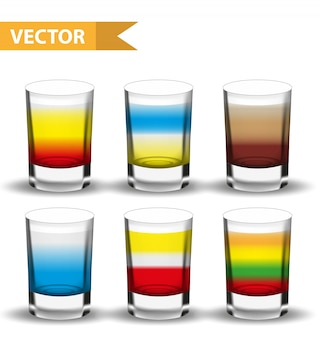 Realistische set shots cocktails. geschoten met drankjes voor bars, restaurans collectie. glazen beker likeur. op een witte achtergrond. illustratie.