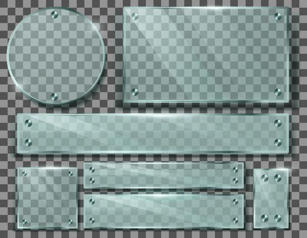 Realistische set transparante glasplaten, lege frames met metalen schroeven
