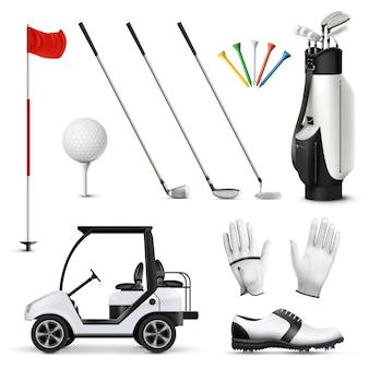 Realistische set van golfuitrusting en speler kledingstuk geïsoleerde vectorillustratie