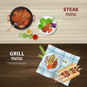 Realistische set van horizontale banners met bbq gegrilde kebab steak en groenten