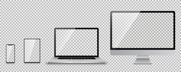 Realistische set van monitor, laptop, tablet, smartphone