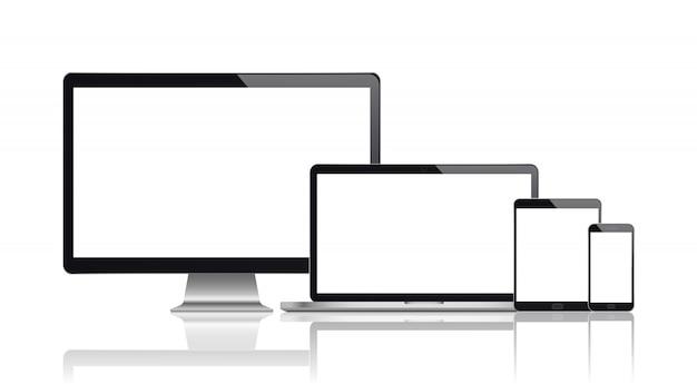 Realistische set van monitor, laptop, tablet, smartphone.