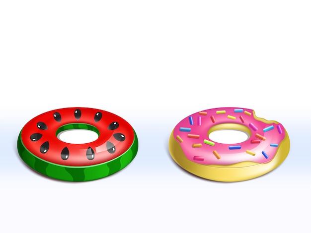 Realistische set van opblaasbare roze donut, rubberen ringen voor kinderen, leuk leuk speelgoed voor zwembadfeest