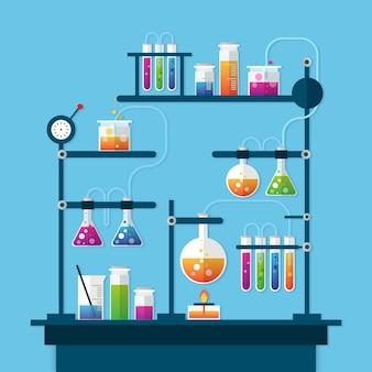 Realistische set van science lab-objecten