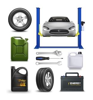 Realistische set voor car service op wit wordt geïsoleerd. auto onderhoud advertentieconcept.