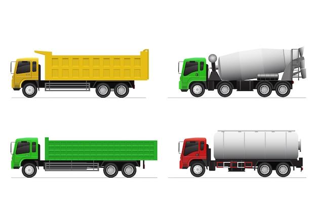Realistische set zware vrachtwagens. kiepwagen, gondelwagen, betonmixer en chemische tankwagen.