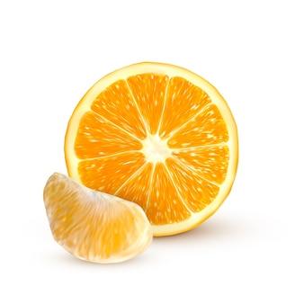 Realistische sinaasappel geïsoleerd