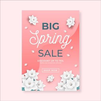 Realistische sjabloon folder voor lente verkoop